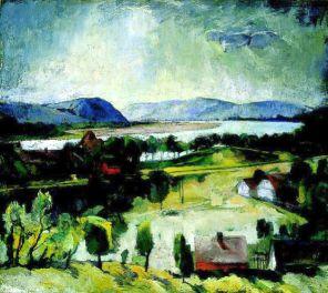 Szőnyi István: Dunai táj, 1928; a Magyar Nemzeti Galéria gyűjteményéből.